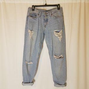 &Denim Boyfriend ripped jeans by H&M light denim